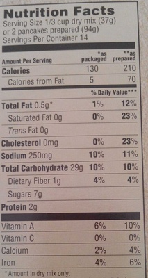 Gluten free pumpkin pancake mix - Nutrition facts - fr