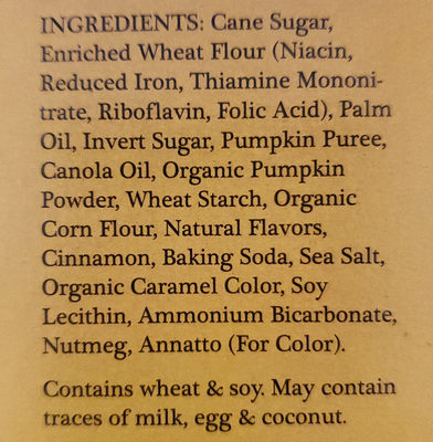 Pumpkin Joe-Joe's - Ingredients