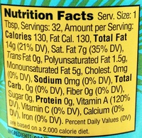 Organic Red Palm Oil - Nutrition facts