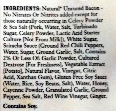 Sweet Sriracha Uncured Bacon Jerky - Ingredients