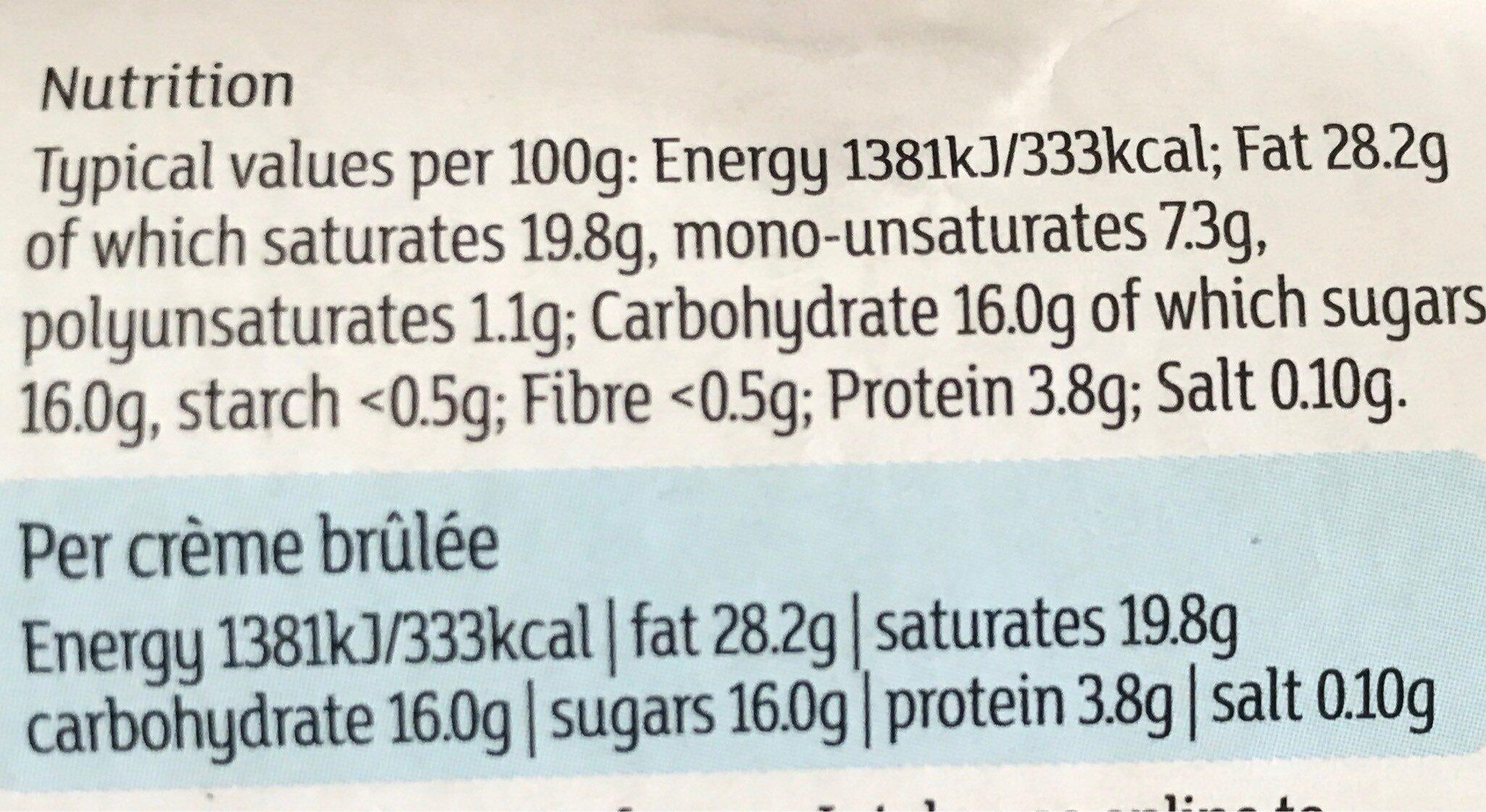 Crème Brûlée - Nutrition facts
