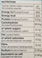 Sugar Free Clear Mints - Informations nutritionnelles