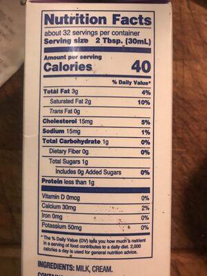 Half & Half - Nutrition facts - en