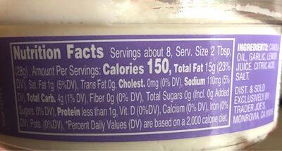 Garlic Spread Dip - Nutrition facts - en