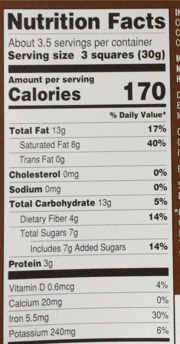 72% cacao Belgian dark chocolate bar - Nutrition facts - en
