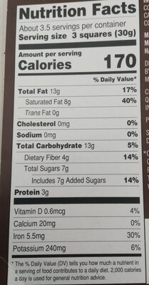 72% cacao Belgian dark chocolate bar - Nutrition facts