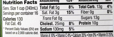 Organic Reduced Fat Milk - Nutrition facts