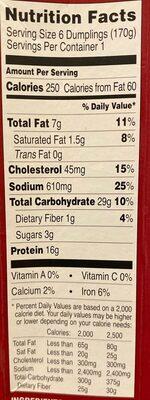 Chicken soup dumplings - Nutrition facts - en