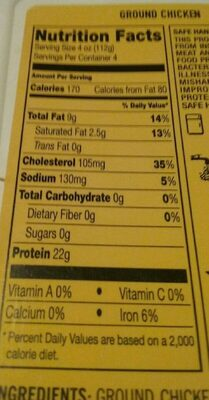 All natural ground chicken - Nutrition facts - en
