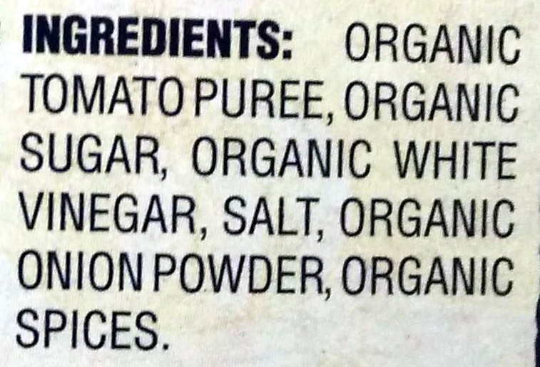 Organic Ketchup - Ingredients - en