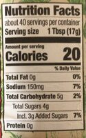 Organic Ketchup - Nutrition facts - en