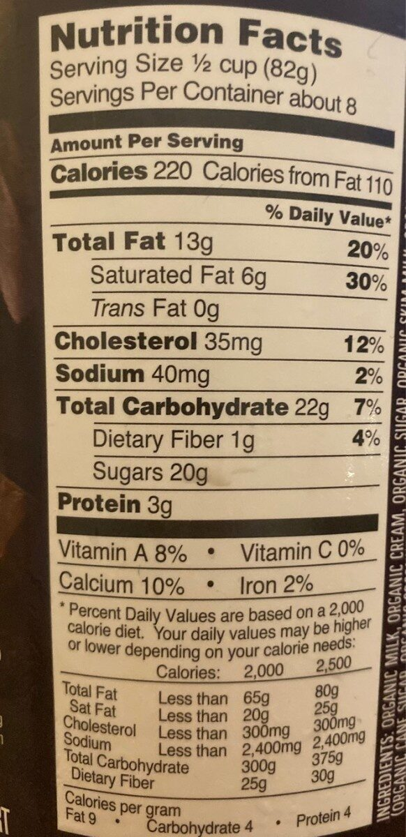 Glace vanille fudge chip - Nutrition facts