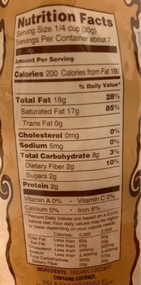 Organic unsweeten coconut chips - Nutrition facts
