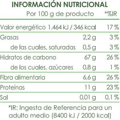 Brillante Facilíssimo Arroz Integral con Bulgur - Informació nutricional - es