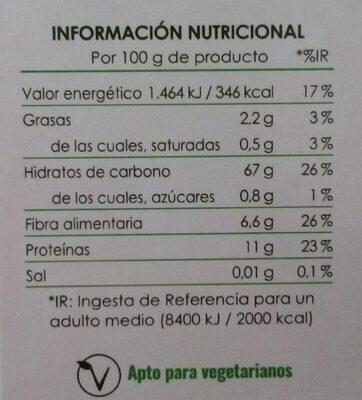 Arroz integral con bulgur - Información nutricional
