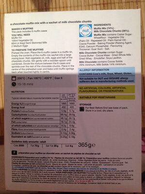 Double Chocolate Muffin Mix - Nutrition facts - en