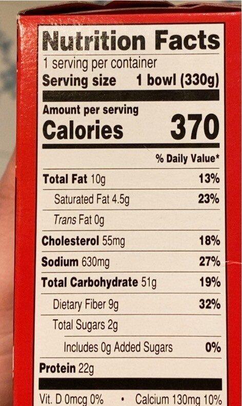 Chicken burrito bowl - Nutrition facts - en