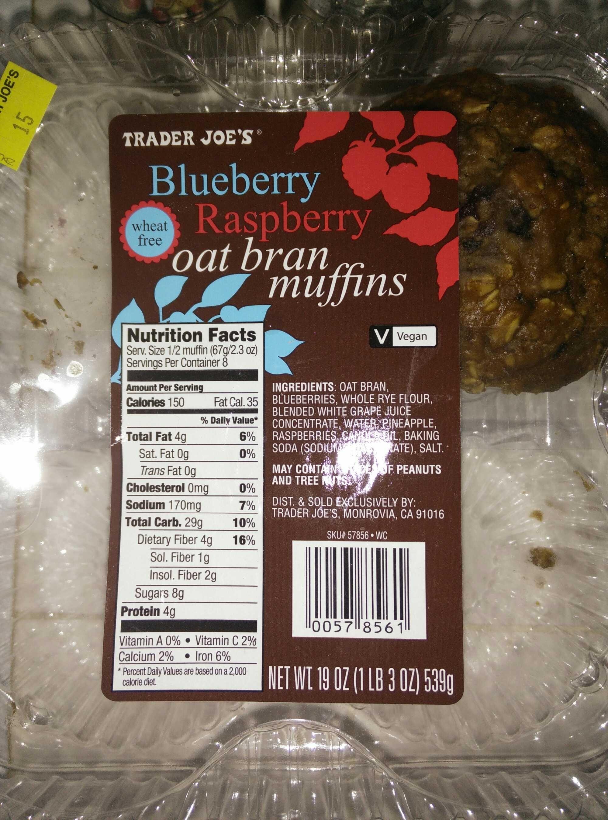 Blueberry Raspberry oat bran muffins - Produit - en
