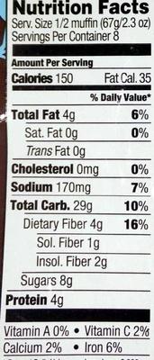 Blueberry Raspberry oat bran muffins - Informations nutritionnelles - en