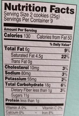 Chocolate chip sandwich cookies - Nutrition facts - en