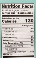 Chocolat chip sandwich cookies - Nutrition facts - en