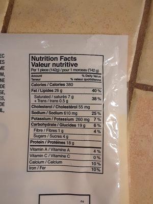poulet à la suisse - Informations nutritionnelles - fr