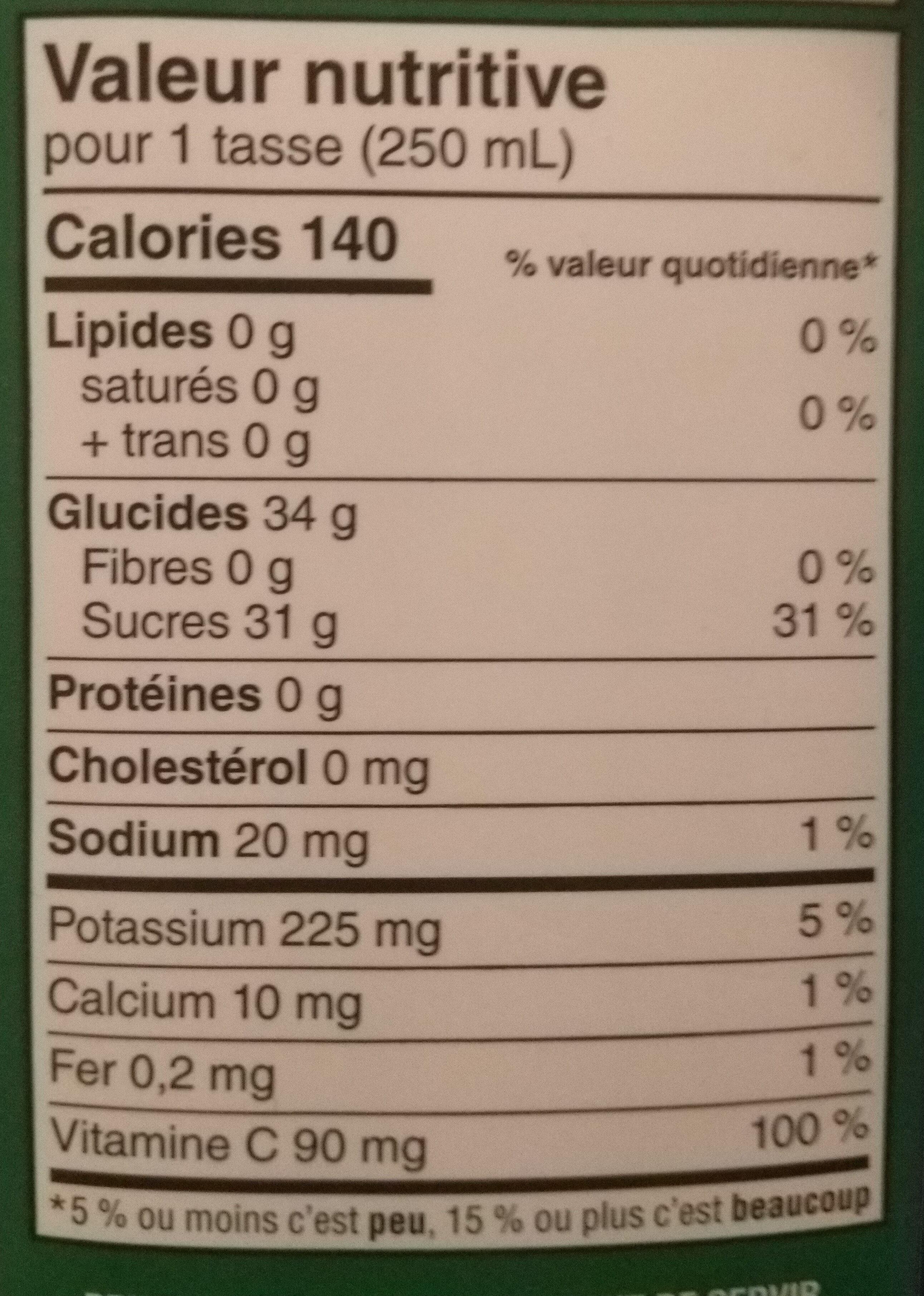 Apple juice - Informations nutritionnelles - en