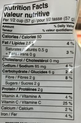Haricots verts fins au beurre avec pois et poivrons rouges grillés - Informations nutritionnelles