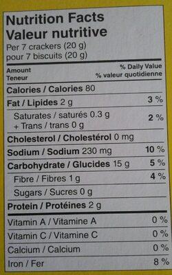 Biscuits soda salés - Informations nutritionnelles - en