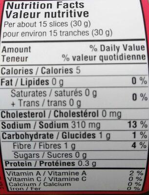 Pickled Sliced Jalapeño Peppers - Informations nutritionnelles - fr