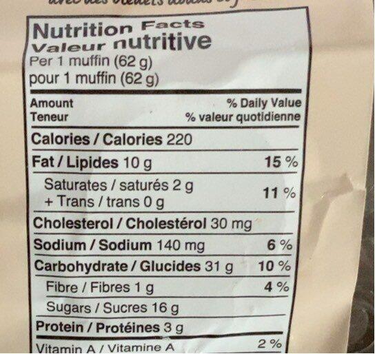 Muffins bleuets - Informations nutritionnelles - fr