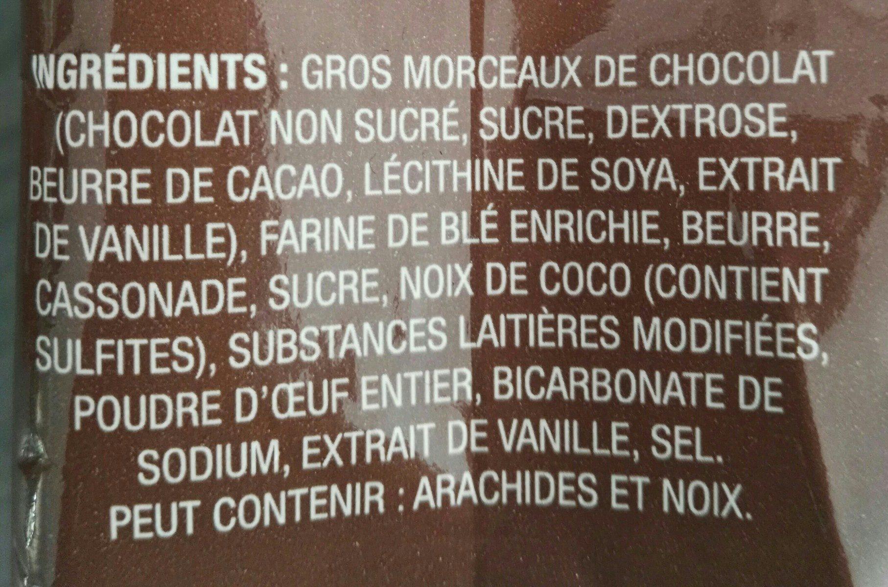 Biscuits Aux Gros Morceaux De Chocolat Le Décadent PC - Ingrédients - fr