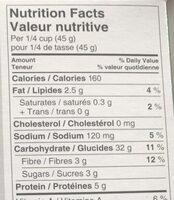 Quinoa - Vegetables. Legumes - Informations nutritionnelles - en