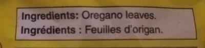 Oregano leaves - Ingredients - en
