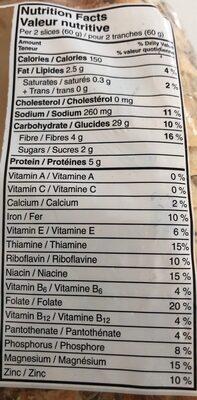 À l'européenne multigrain rye loaf - Nutrition facts - fr