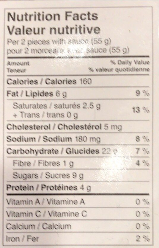 Chicken spring rolls - Informations nutritionnelles - en