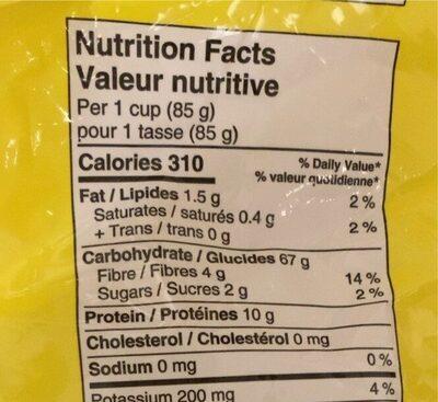 Penne rigate - Informations nutritionnelles - en