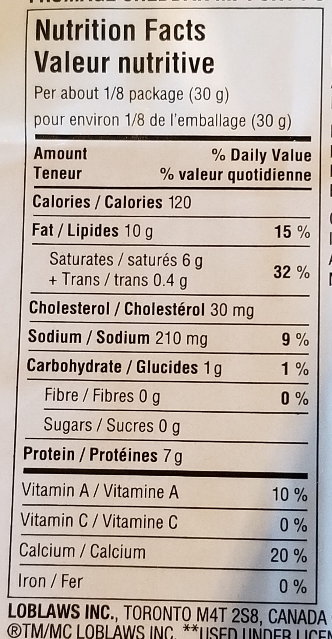 medium Cheddar cheese - Informations nutritionnelles - en