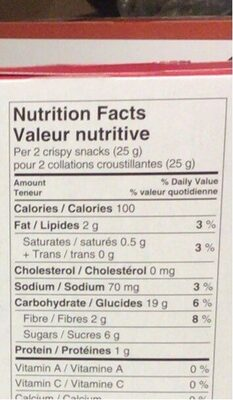 Crispy Snacks with Strawberry Filling - Nutrition facts - en