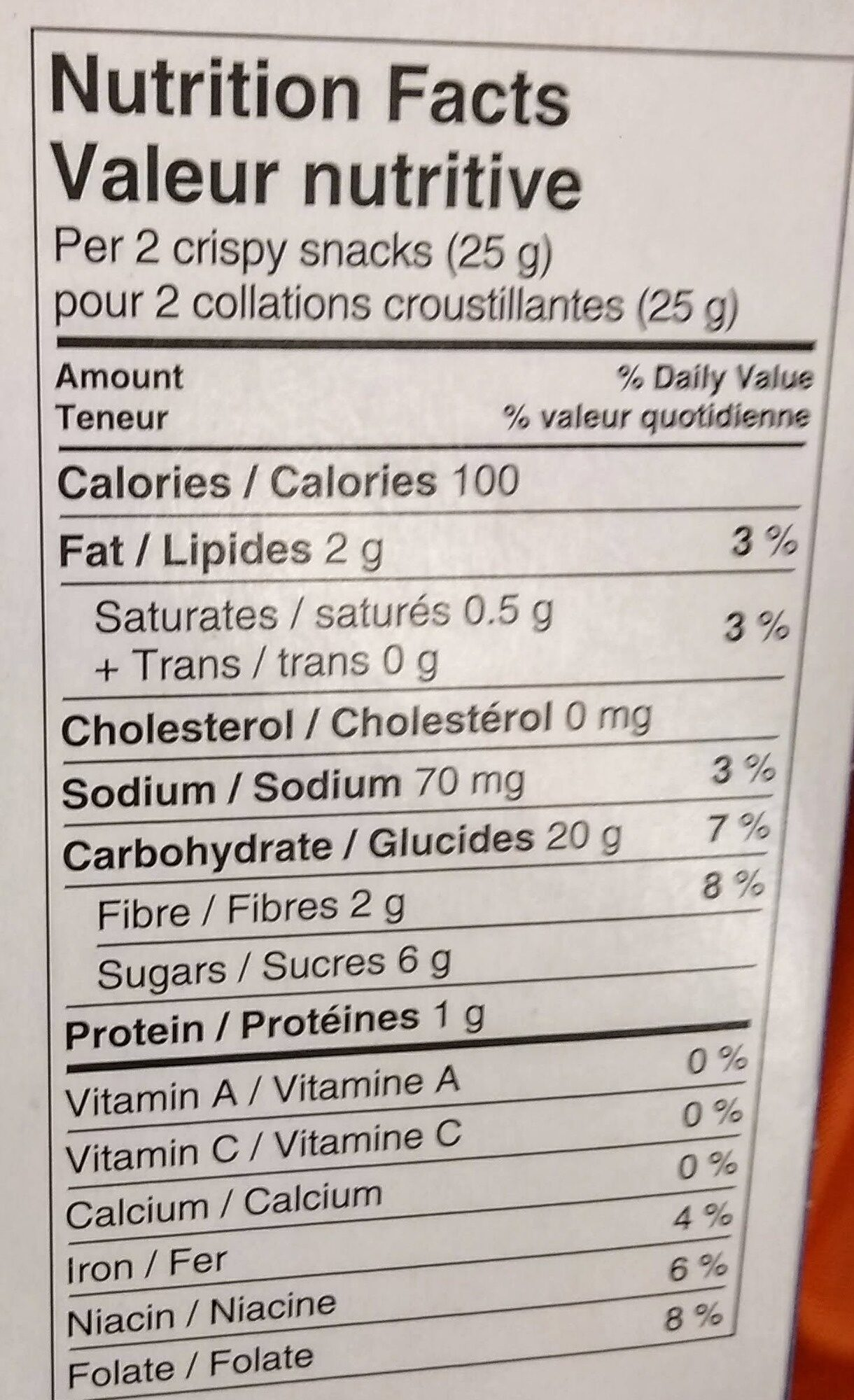 Crispy Snacks with Blueberry Filling - Nutrition facts - en