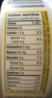 Crème sure 5% - Informations nutritionnelles - fr
