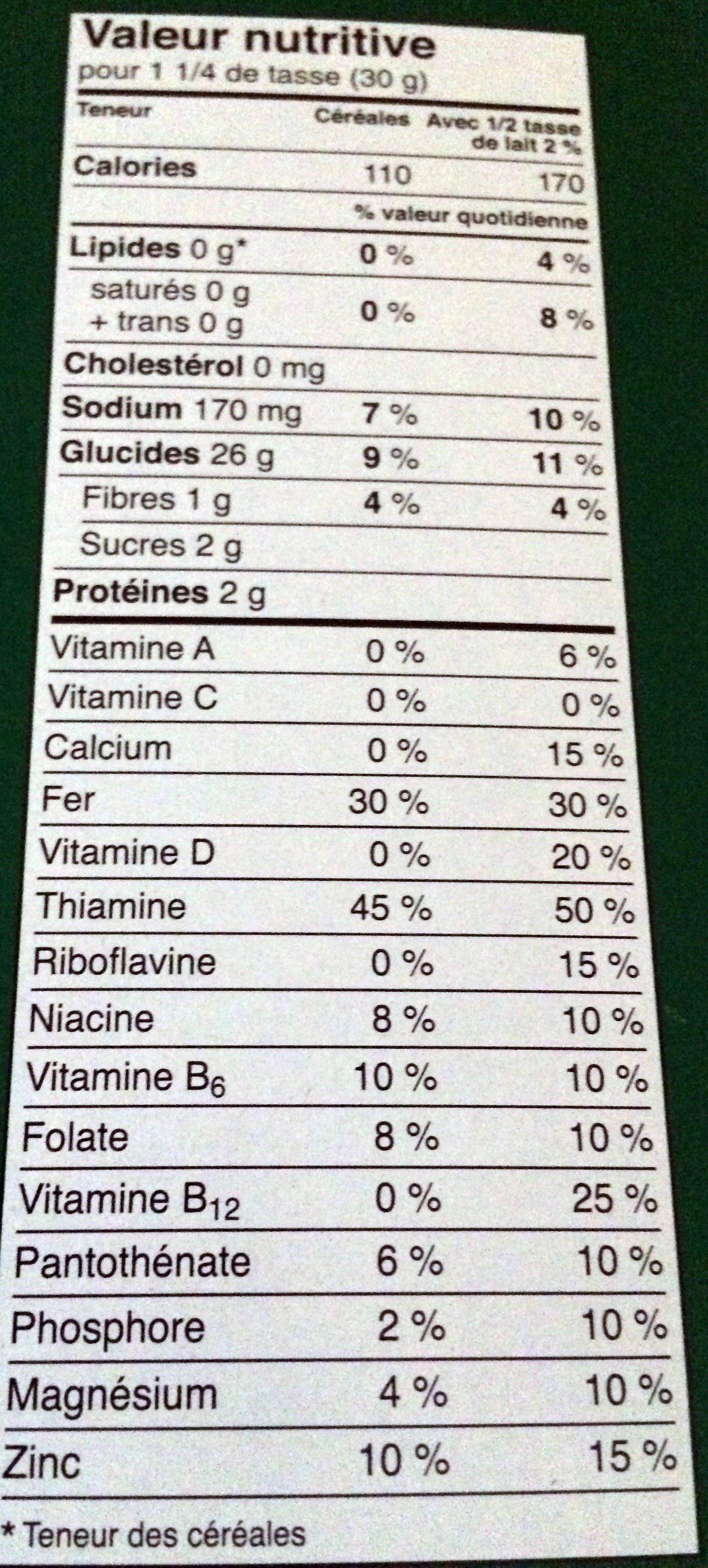 Flocons de maïs - Informations nutritionnelles - fr