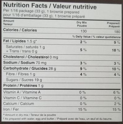 mélange à brownies triple chocolat - Voedingswaarden - fr