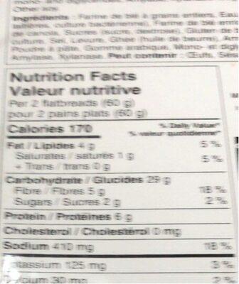 Naan rounds - Informations nutritionnelles - en