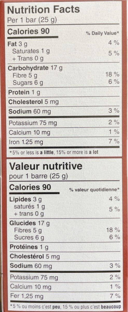 Fibre chocolate brownie with ancient grains soft-baked bars - Nutrition facts - fr