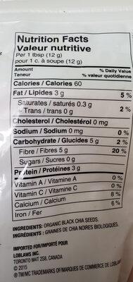 Graines de chia biologique - Informations nutritionnelles - fr