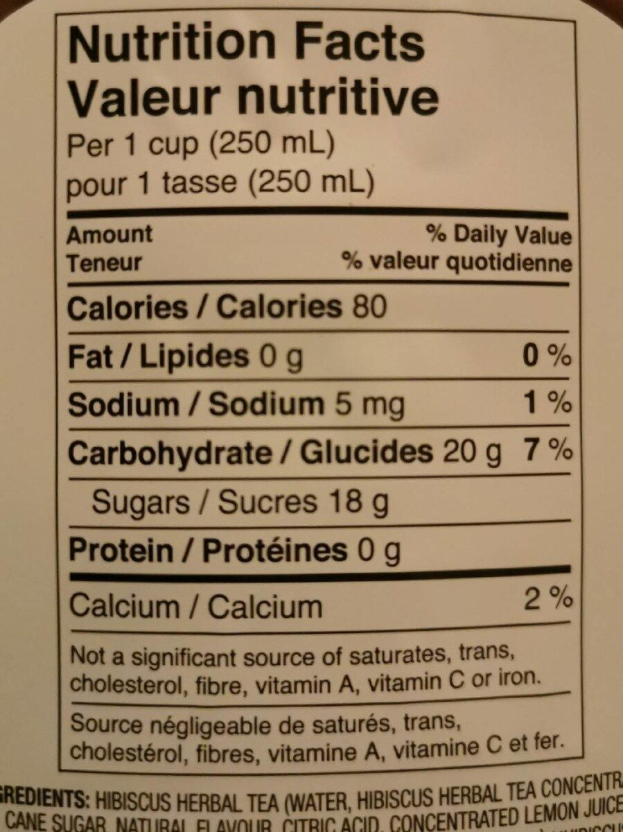 Tisane à l'hibiscus - Informations nutritionnelles - fr