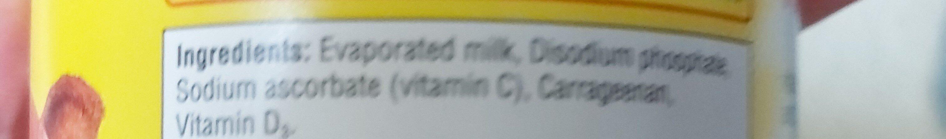 Evaporated milk - Ingrédients - en
