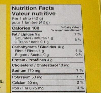 Laniere de poulet - Informations nutritionnelles