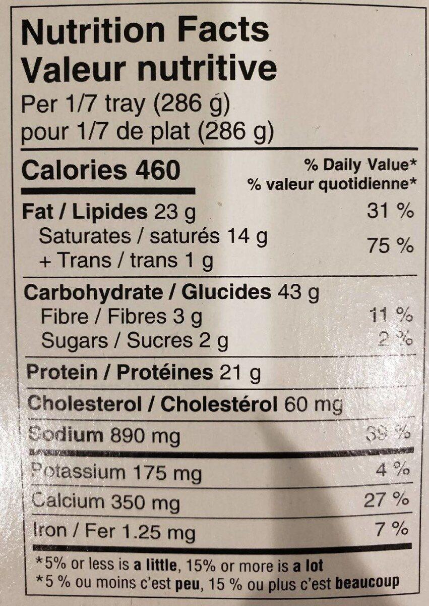 Mac & Cheese - Informação nutricional - fr